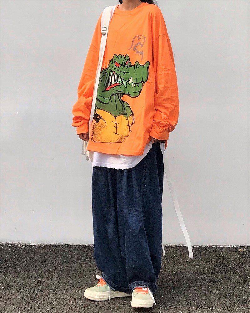 《2色》アングリーワニロングオーバーサイズTシャツの画像1